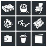 Cinema hall Vector Icons Set Royalty Free Stock Photos