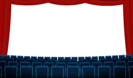 Cinema hall with white blank screen, chairs and red curtain. Realistic blue chairs movie theater seats facing a screen stock illustration