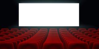 Cinema Hall With White Blank Screen e assentos vermelhos do cinema do cinema das fileiras ilustração royalty free