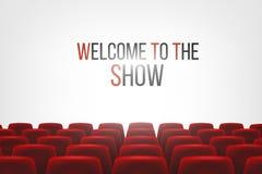 Cinema Hall With White Blank Screen e assentos vermelhos do cinema do cinema das fileiras ilustração do vetor