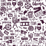 Cinema hand drawn seamless pattern with lettering. Movie making film symbols collection. Cinematography design items. Camera, film tape, popcorn, chair, stars Royalty Free Stock Image