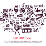 Cinema hand drawn set with lettering. Movie making banner. Film symbols collection. Cinematography design items: camera. Film tape, popcorn, chair, stars Stock Photography