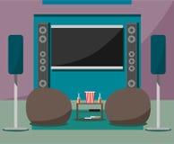 Cinema home moderno com cadeiras, bebidas e pipoca macias ao estilo do plano ilustração do vetor