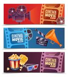 Cinema Horizontal Banners. Cinema set of horizontal banners with camera, megaphone and clapper, popcorn, glasses and tickets isolated vector illustration Stock Photos
