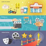 Cinema horizontal banners set Stock Images