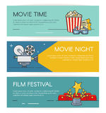 Cinema horizontal banners set with popcorn, retro camera, festival award. Outline flat style illustration. Cinema horizontal banners set with popcorn, retro Stock Images