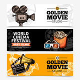 Cinema Horizontal Banners. With studio title camera clapperboard popcorn 3d glasses and megaphone vector illustration Royalty Free Stock Photo