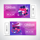 Cinema Horizontal Banners In Ticket Form Royalty Free Stock Photo