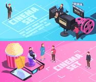 Cinema Horizontal Isometric Banners. On blue pink background with movie set, staff, tickets, snacks isolated vector illustration Royalty Free Stock Photography