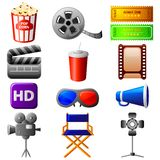 Cinema Icon. Vector illustration of collection of different cinema icon Stock Photography