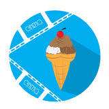 Cinema icon. Blue button with a pair of filmstrips and an ice cream Stock Photo