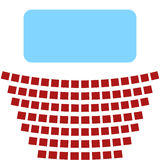 Cinema icon, a blue screen and rows of seats in the theater. Blue screen in a movie theater and rows of red seats Royalty Free Stock Images