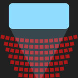 Cinema icon, a blue screen and rows of seats in the theater. Blue screen in a movie theater and rows of red seats Royalty Free Stock Photography