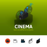 Cinema icon in different style. Cinema color icon, vector symbol in flat, outline and isometric style isolated on blur background Stock Images
