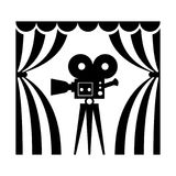 Cinema theatre film camera. Cinema icon. Film camera flat vector cartoon illustration. Objects isolated on a white background Royalty Free Stock Image