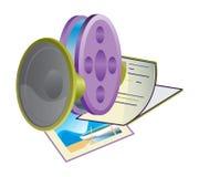 Cinema icon. Cinema movie icon green web violet bobbin Stock Photography