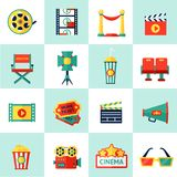 Cinema Icon Set. Cinema filmmaking icons set with film equipment and movie production isolated vector illustration Stock Photos