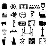 Cinema icon set. Flat vector cartoon illustration. Objects isolated on a white background Stock Photos