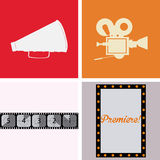 Cinema icon. Set of cinema icons on different backgrounds. Vector illustration Stock Photo