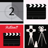 Cinema icon. Set of cinema icons on different backgrounds. Vector illustration Stock Images