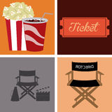 Cinema icon. Set of cinema icons on different backgrounds. Vector illustration Stock Photography