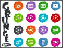 Cinema icon set. Cinema symbol icons for user interface design in grunge style Stock Photo