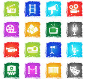 Cinema icon set. Cinema web icons in grunge style for user interface design Stock Image