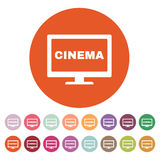 The cinema icon. Television and tv, movie, film symbol. Flat. Vector illustration. Button Set Royalty Free Stock Photography