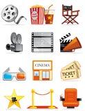 Cinema icons. Set of isolated icons of cinema Stock Photos