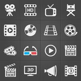Cinema icons on black background. Vector royalty free illustration