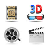 Cinema Icons. Bright and detailed icons of cinema and films on white background Stock Image