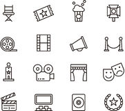 Cinema icons. A collection of cinema and theatre icons Stock Photography