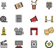 Cinema icons. Colorful set of icons relating to the cinema or theater Stock Photography
