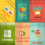 Cinema icons composition poster print. Cinema movie action film tickets snacks glasses retro symbols six flat icons composition abstract isolated vector Stock Images
