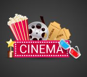 Cinema icons concept. Cinema ticket filmstrip award icons elements movie concept vector illustration Stock Photos