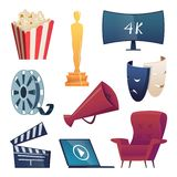 Cinema icons. Entertainment cartoon symbols 3d glasses snacks camera popcorn megaphone comedy masks clapper vector royalty free illustration