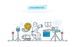Cinema icons. Film director participates in process of filming, management. Film director concept. Film director participates in process of filming and Stock Photography
