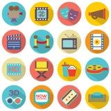 Cinema Icons. Flat Design Set 16 Cinema Icons Royalty Free Stock Images
