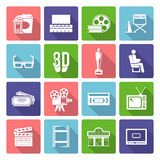 Cinema Icons Flat. Cinema and film industry flat long shadow icons set  vector illustration Stock Images