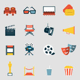 Cinema icons flat. Making film and watch movie in the cinema icons collection Royalty Free Stock Photography