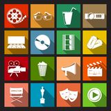 Cinema Icons Flat. Cinema movie entertainment film flat icons set isolated vector illustration Stock Photography