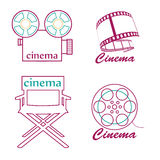 Cinema icons. Four different cinema's icon with lines and text Stock Photography