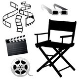 Cinema icons. A lot of black silhouettes of cinema icons Royalty Free Stock Photography