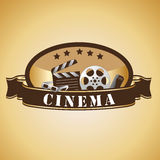 Cinema icons. A lot of brown silhouettes of cinema icons Royalty Free Stock Photo