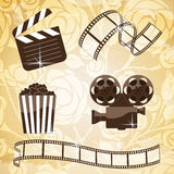 Cinema icons. A lot of brown silhouettes of cinema icons Stock Image