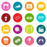 Cinema icons many colors set Royalty Free Stock Photos