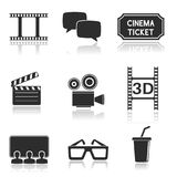 Cinema icons set. Black square signs with movie theater symbols. Vector illustration isolated on white background Stock Photography