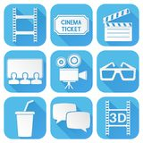 Cinema icons set. Blue square signs with movie theater symbols. Vector illustration isolated on white background Stock Photography