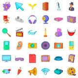 Cinema icons set, cartoon style. Cinema icons set. Cartoon style of 36 cinema vector icons for web isolated on white background Stock Photography