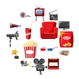 Cinema icons set in cartoon style. Movie equipment set collection vector illustration Stock Photography